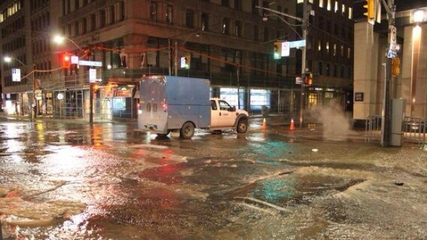 Broken water mains forced road closures in downtown Toronto