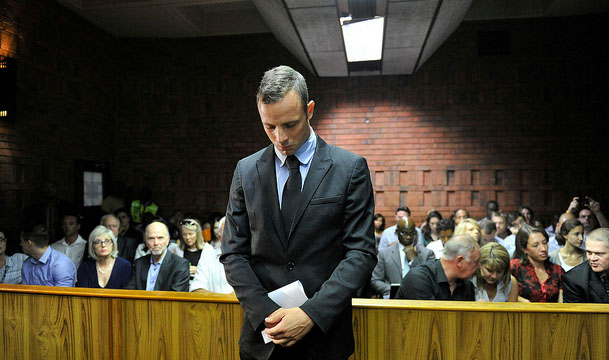 On trial: Oscar Pistorius faces his first day of murder charges