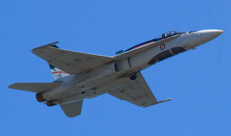 Royal Canadian Air Force CF-188 Hornet at the Canadian International Air Show at the Canadian National Exhibition Centre, Toronto.
