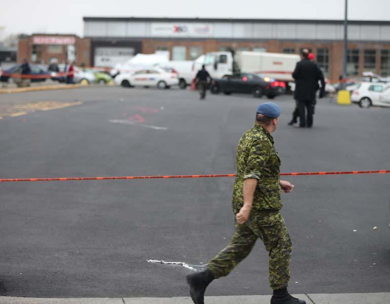 Soldier walking near Quebec mall