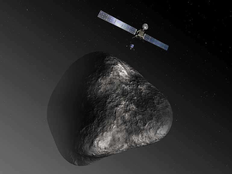 Artistic impression of Rosetta and Philae above come 67P. Image via European Space Agency. Flickr.