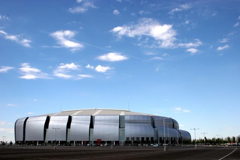 The University of Phoenix Stadium in Glendale, Arizona, home of the Arizona Cardinals and host of the Fiesta Bowl