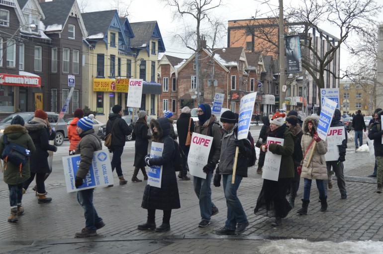 Protestors at the University of Toronto gather to support the change from the union.