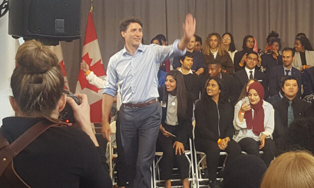 Trudeau at Etobicoke town hall today addressing youth unemployment