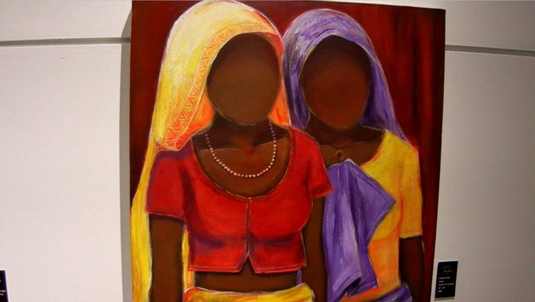 A painting from Amin's fourth phase where the faces are not visible