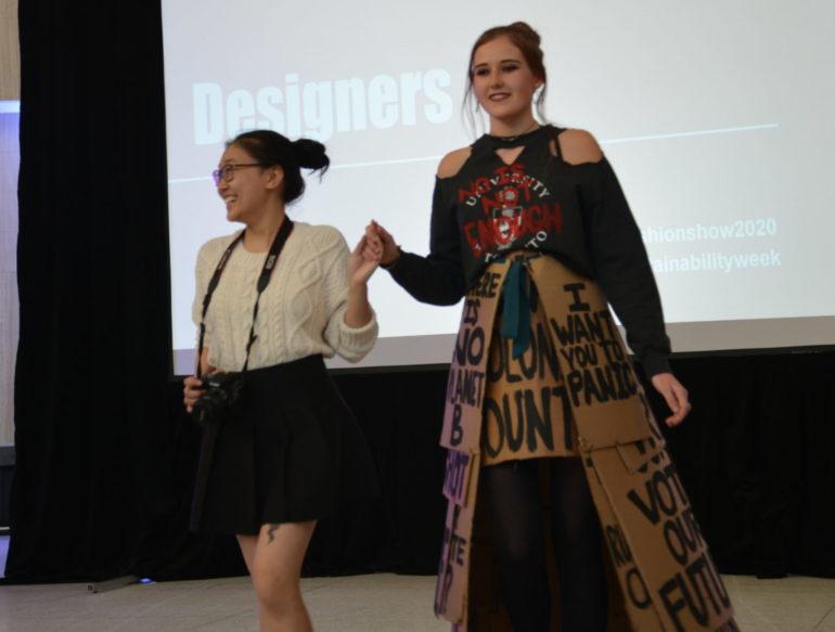 Coco Chen walks with model Jasmine Orr during the fashion show. (Akanksha Lamba)