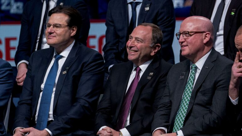 """Commissioner Gary Bettman announces return-to-play format for NHL with 24 teams for playoffs."" (REUTERS/ Bob Frid)"
