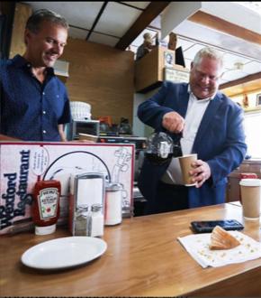 Premier Doug Ford and George Kiriakou at the Wexford Restaurant Courtesy George Kiriakou