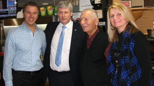 PM Stephen Harper with George Kiriakou, Tommy Kiriakou and Peggy Popalis at the Wexford Restaurant Courtesy George Kiriakou