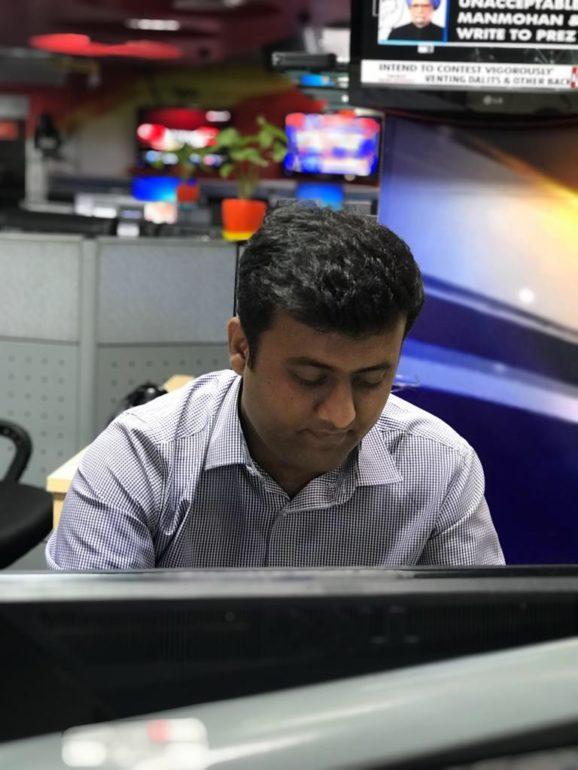 Sankalp Tomar working in newsroom in Wion, Zee tv Co-op limited in New Delhi, India. (Sankalp Tomar)