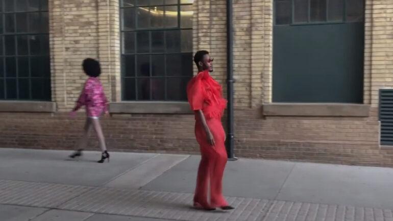 Fashion Art Toronto models walk the runway while maintaining social distance. ( Fashion Art Toronto Youtube)