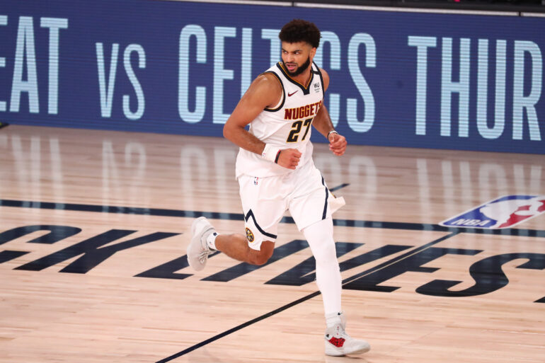 Sep 15, 2020; Lake Buena Vista, Florida, USA; Denver Nuggets guard Jamal Murray (27) reacts after a shot during the second half in game seven of the second round of the 2020 NBA Playoffs against the Los Angeles Clippers at ESPN Wide World of Sports Complex. Mandatory Credit: Kim Klement-USA TODAY Sports