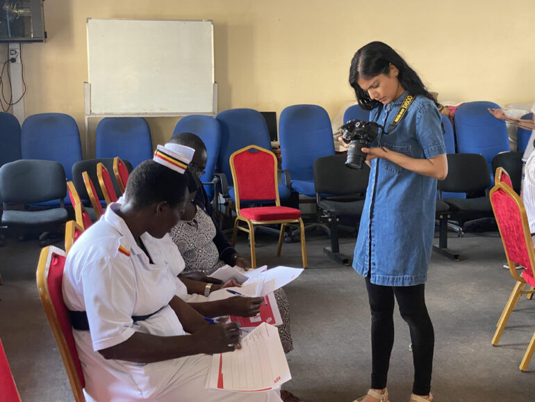 Harmony Multani  Photographs nurses at DUVE workshop at Arua Regional Referral Hospital in North Western Uganda