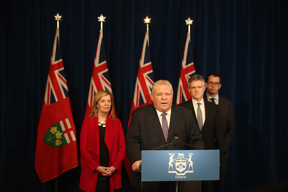TORONTO, ON- MARCH 19  - Premier Doug Ford holds a press conference to address legislation to help during the COVID-19 pandemic as  the Province of Ontario declared a state of emergency to combat the spread of COVID-19 and encourages people to stay and work from home  in Toronto. March 19, 2020.        (Steve Russell/Toronto Star via Getty Images)