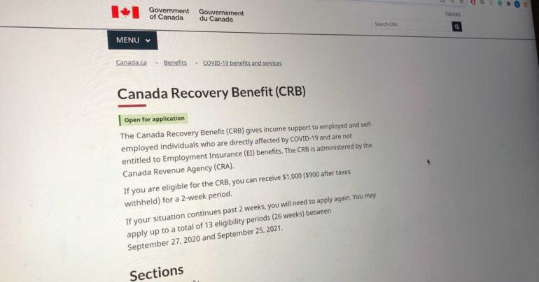 The Government of Canada's website showing the Canada Recovery Benefit