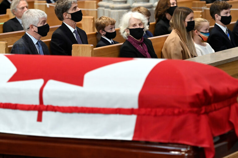 Geills Turner, wife of former Canadian prime minister John Turner, looks at his casket during his state funeral service at St. Michael's Cathedral Basilica in Toronto, Ontario, Canada October 6, 2020. Nathan Denette/Pool via REUTERS