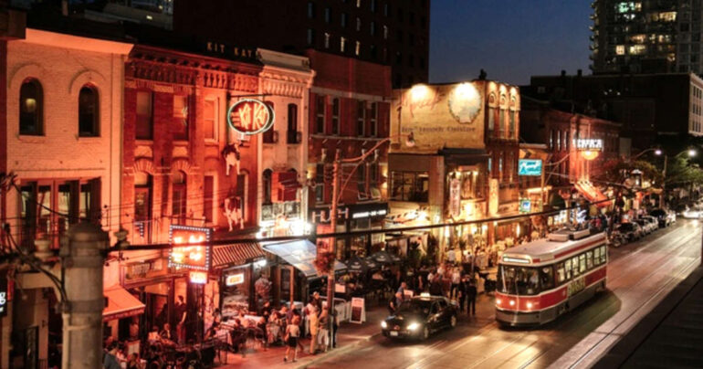 King Street comes alive in the nighttime.