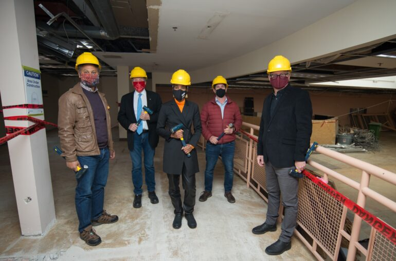 Alica Hall with Mayor John Tory and members of Canadian Heritage and United Way at the first day of construction at Nia Centre for the Arts.