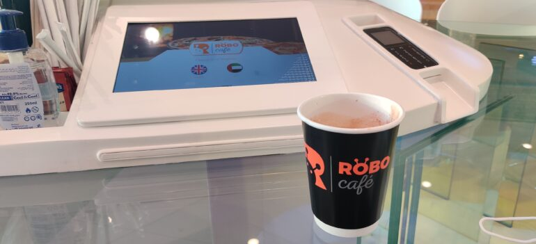 The electronic menu where users can choose the language they wish to order in at Dubai's RoboCafe.