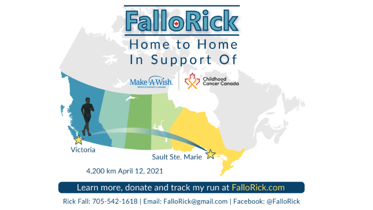 The campaign poster created for Rick Fall. This poster outlines his journey, the distance and how to donate.