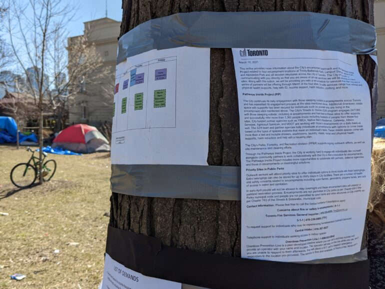 Toronto's Pathway Inside program aims to relocate people living in four of the city's most prominent homeless encampments. Residents have been told to relocate to a designated hotel shelter by April 6.