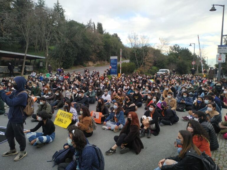 Students protesting at the BAU campus.