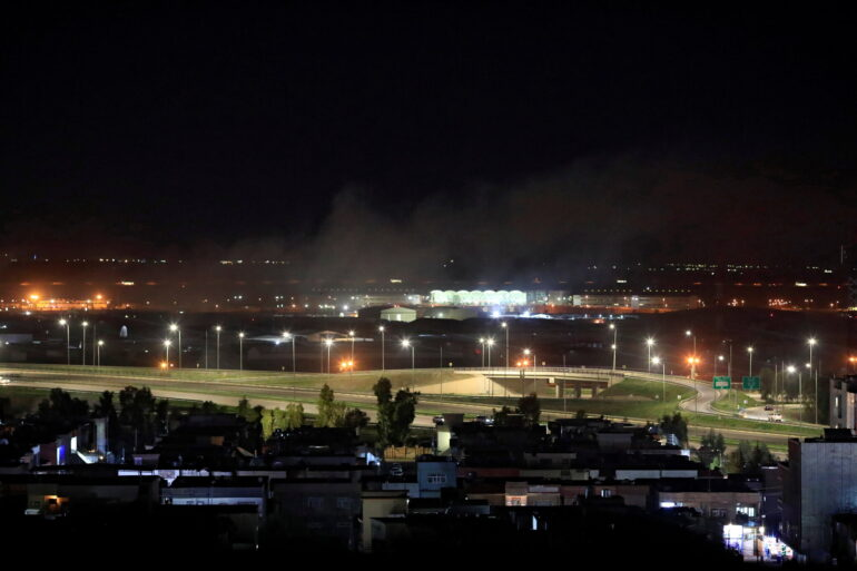 Smoke could be seen rising from Erbil after the rocket attack Monday.