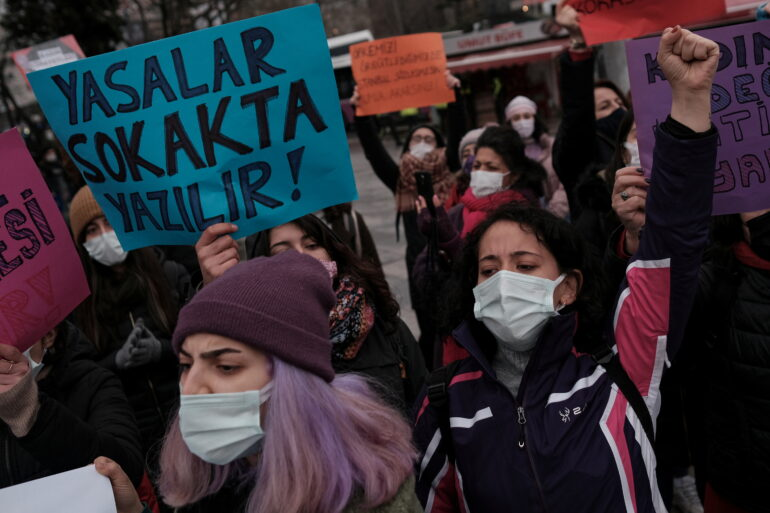 Activists participate in a protest against Turkey's withdrawal from Istanbul Convention, an international accord designed to protect women, in Istanbul, Turkey March 23, 2021.