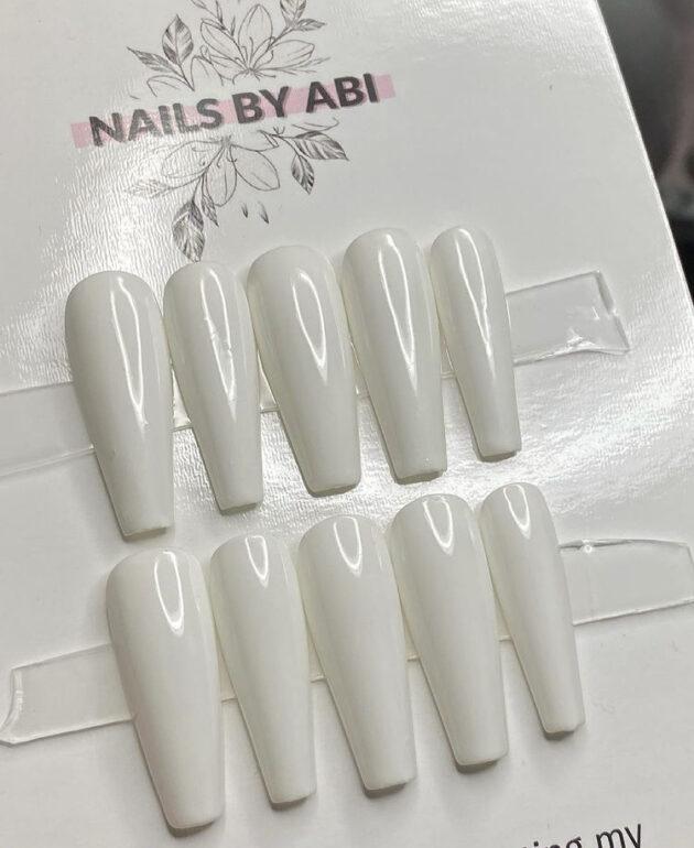 White Press on Nails