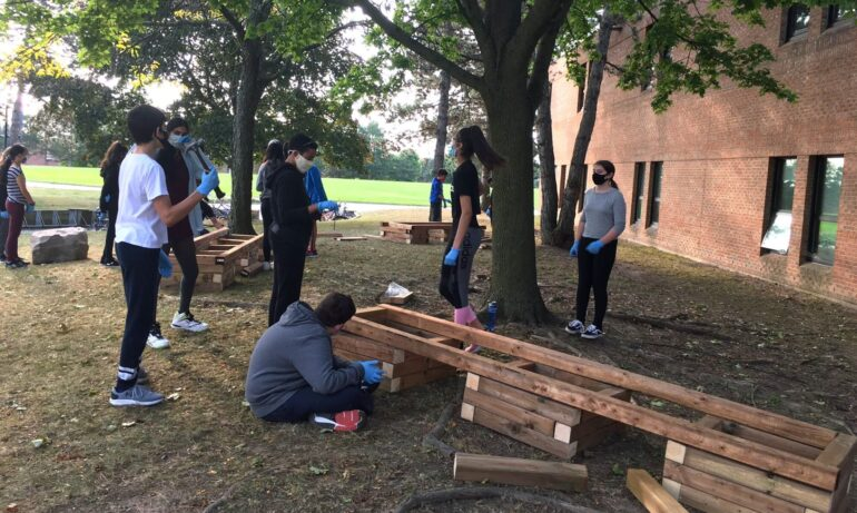 Students at Edenwood Public School in northwest Peel build an outdoor learning space for their school community in November 2020. Photo Credit: Peel District School Board.