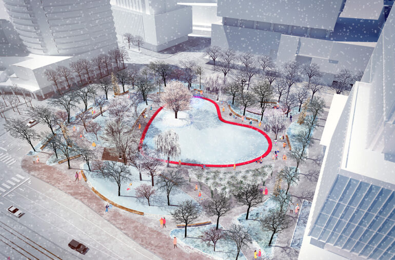 A top down view of the vibrant and modern design of Love Park.