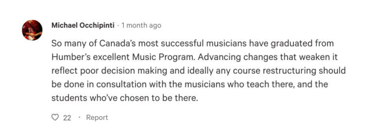 Jazz guitarist and Humber music instructor, Michael Occhipinti, signed the petition against proposed changes to the Bachelor of Music program at Humber College.