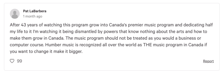 Jazz musician and Humber music instructor, Pat LaBarbera, signed the petition against proposed changes to the Bachelor of Music program at Humber College.