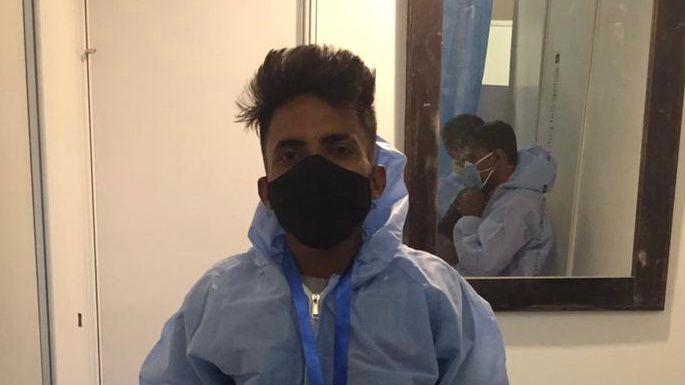 Abhinash Soni in PPE in COVID hospital.