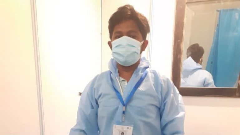 Paresh Parmar in PPE in COVID hospital.
