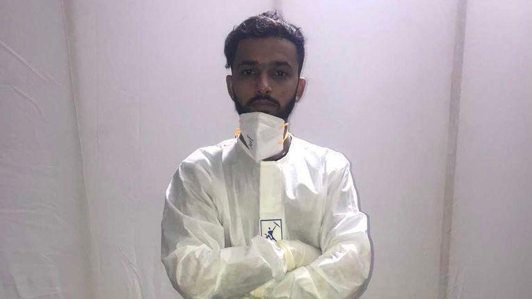 Sumeet Khatri in PPE in COVID hospital.