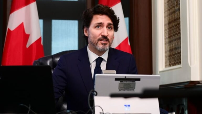 Trudeau speaking at an online conference.