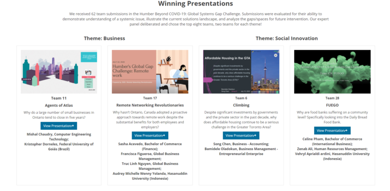 A total of eight revolutionary concepts and ideas won Humber's 2020 Gap Challenge. All presentations that won are on display at Humber's Global Opportunities page.