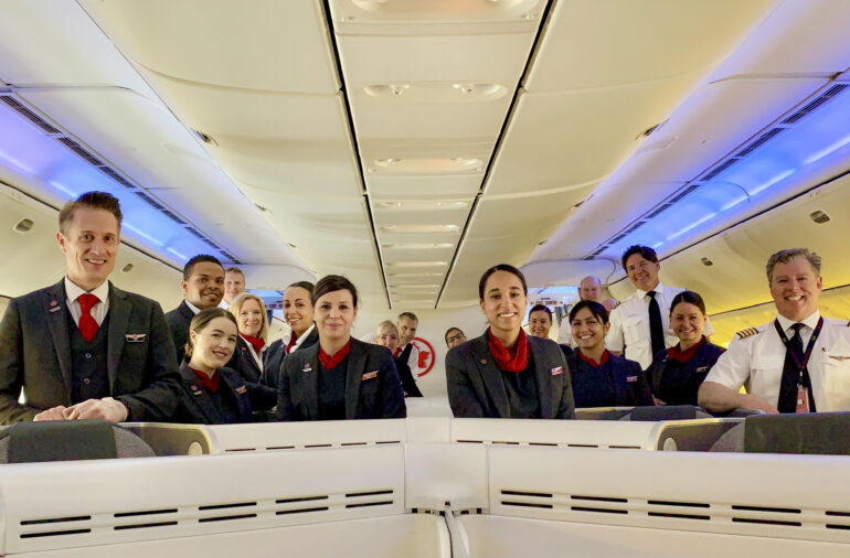 Flight attendants and pilots at Montréal's Pierre Elliott Trudeau International Airport in December 2019. Since the pandemic, Air Canada has laid off more than 70 per cent of its flight crew. Courtesy Air Canada.