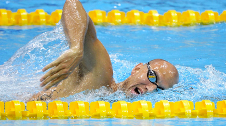Hayden swimming his signature event, the 100-metre freestyle in preliminary heats at the 2012 Olympics in London. Hayden was a bronze medallist at those Games and will be eyeing the podium again next month in Tokyo.