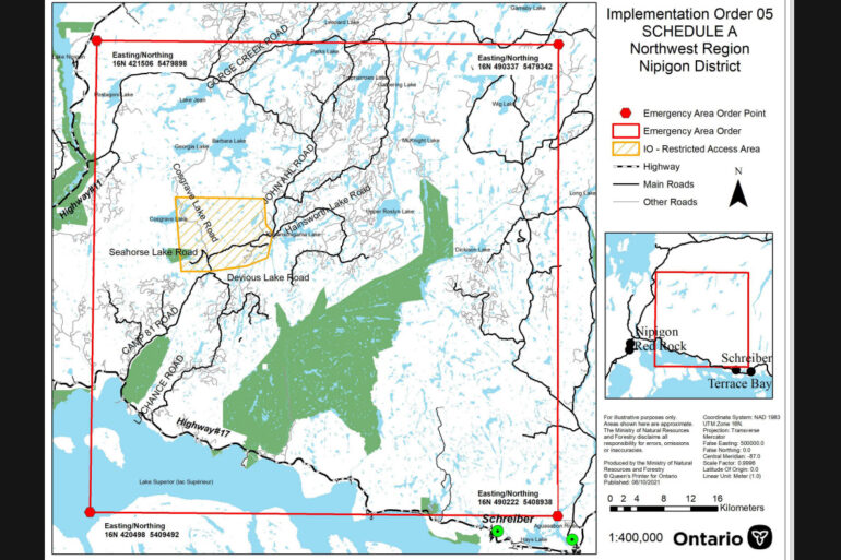 An Implementation Order is in effect that restricts access and use of certain roads and Crown lands in Nipigon.