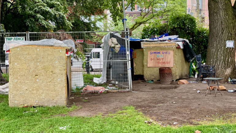 One of the tents at Moss Park, the last encampment in Toronto. It's expected the city will move to evict the people living there.