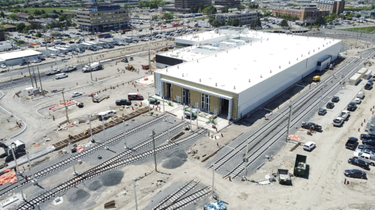 This is the new Maintenance Storage Facility for The Finch West LRT line, which will house all light rails on Line 6.