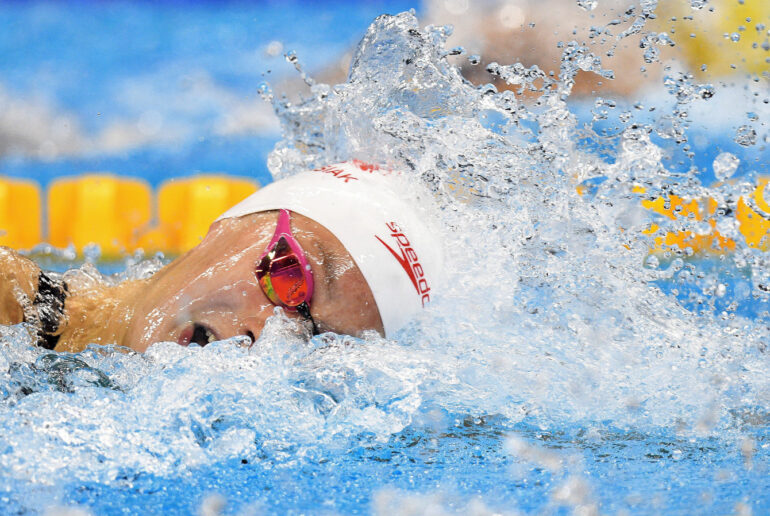 This is an image of swimmer Penny Oleksiak swimming.