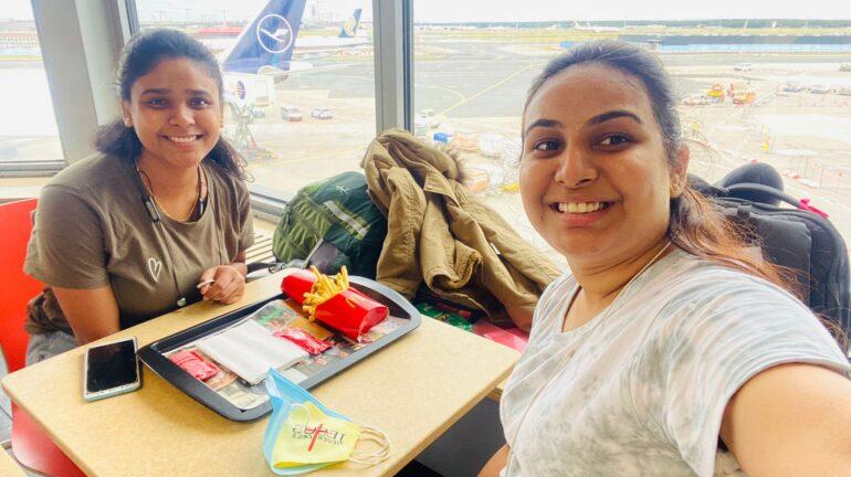 Jenice Rathod taking the selfie at Tirana International Airport on her journey to Canada.
